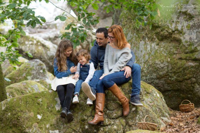 photo de famille en automne à fontainebleau 77